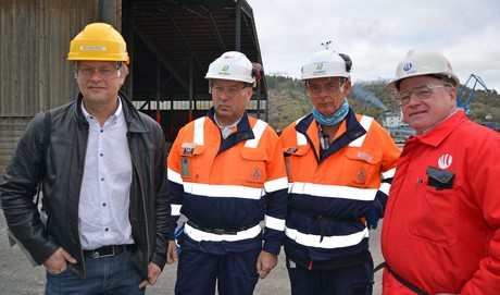 From left Project Owner Engebret Dæhlin, Yara, Project Manager Jonny Olsen, Bilfinger, Site Manager Arne Alkeng, Bilfinger and Lars Ekornrød, Herøya Industripark.