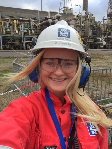 Celine Olsen got off to a flying start as a process apprentice at the Yara ammonia plant.