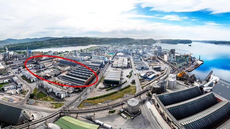 Birds eye photo showing the area for new factory